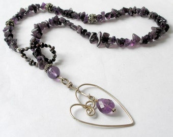 Amethyst Lariat Necklace Sterling Silver Heart Pendant February Birthstone Metaphysical Healing Stones