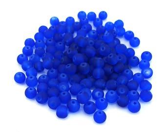 100 glass 6 mm round blue beads