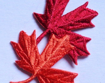 leaves leaf two orange & red iron on applique