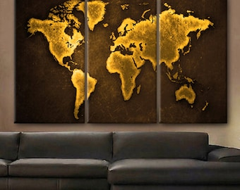 Huge map etsy huge 3 panels framed 15 depth art canvas print beautiful world map color gold travel gumiabroncs