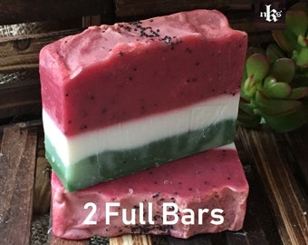 Watermelon soap. Natural handmade soap. Cold process soap. Artisan soap. 2 Soap bars.