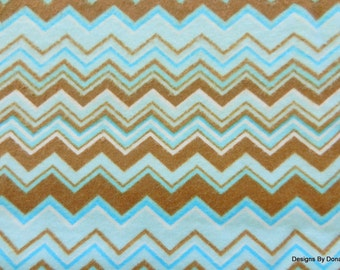 Bolt End SALE, One Yard Cut, Flannel Fabric, Chevron Pattern in Blue and Brown, Sewing-Quilting-Craft Supplies