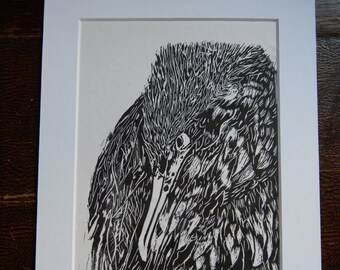 Hand pulled cormorant linoprint on Japanese rice paper