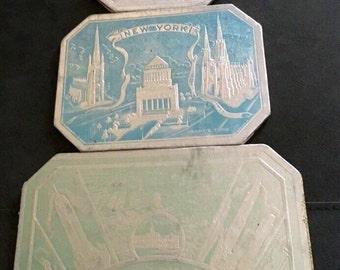 Vtg Foil Covered New York Themed Sayford Company USA Trivets Hot Plates Set of 3
