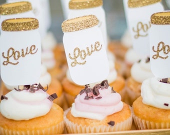 Mason Jar Cupcake Toppers, Bridal Shower Cupcake Toppers, Rustic Party Decorations, Cupcake Toppers, Gold Party Decor, Qty 12
