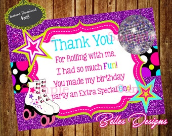 Roller Skating Thank You Card, Roller Birthday Thank You Card, Birthday Thank You Card, Birthday Girl, Instant Download, DIGITAL FILE