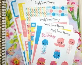 Octopus Planner Sticker Kit - Happy Planner - Erin Condren - Functional Stickers - Matte - Weekly Planner - Plum Planner