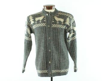 Vintage 70s Wool Sweater Nordic Ugly Christmas Cardigan Gray White Wool Reindeer Pine Trees 1970s Medium M Hipster Holiday Nordstrikk