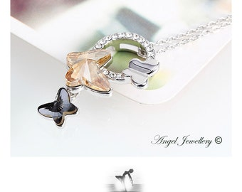 Fancy Butterfly Pendant Necklace With Swarovski Crystal Elements Best Gift For Your Loved One Gift Box & Tag Included
