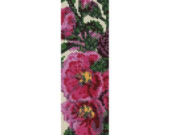Hollyhocks Peyote Bead Pattern, Bracelet Cuff Pattern, Bookmark Pattern, Seed Beading Pattern, Delica Size 11 Beads - PDF Instant Download
