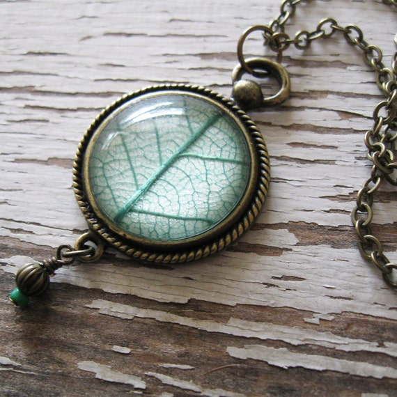 Real Leaf Necklace - Minty Green Leaf Vintage Inspired Necklace