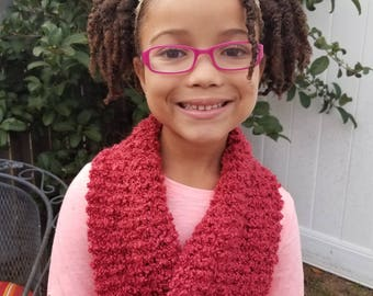 Hand Knit Kids Cozy Pink Infinity Scarf or Cowl Ready to Ship