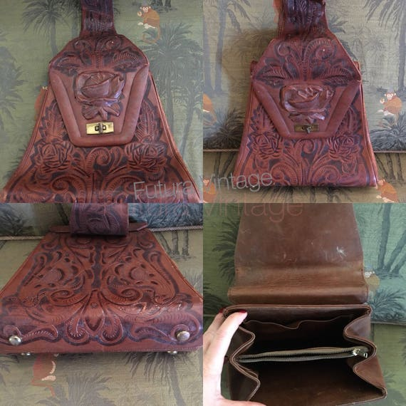 1940s Gorgeous Hand Tooled Leather Large Trapezium Shape Handbag Rose Center with Metal Clasp Inside Pockets