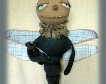 DRAGONFLY, A Primitive, Folk Art, Zippidy Doo Da, Doll, E PATTERN By Whimsical Endeavors