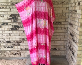 Long Plus Size Lightweight Hand Painted Rayon Caftan