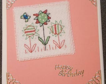 Cross Stitch Card, Birthday,Flower, Floral, Funky, Greeting Card, Handmade