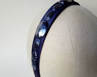 Jewelled navy satin headband with vintage gunmetal iridescent sequins ~ Gothic ~ Tattoo ~ Party ~ Alice band ~ Hair band