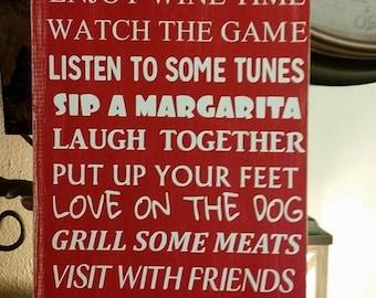Backyard rules sign