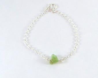 Raw Peridot Simple Bracelet Sterling Silver