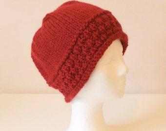 Hand knit red alpaca wool hat