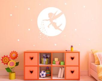 Fairy wall sticker, girls bedroom wall stickers, girls wall stickers, fairy wall decal, fairy wall art, fairy silhouette wall sticker