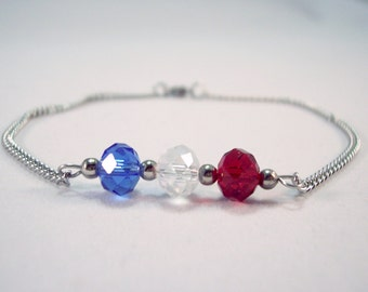 4th of July Jewelry Crystal Anklet Red White and Blue Ankle Bracelet Patriotic  Stainless Steel Anklet Beach Anklet Non Tarnish