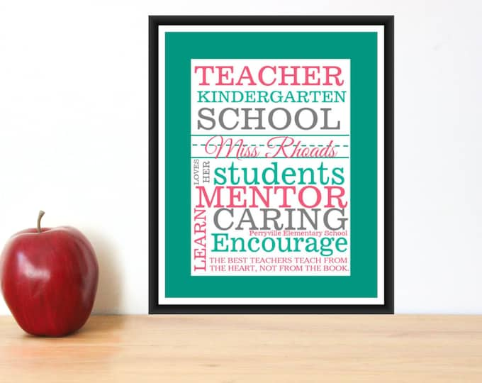 Teacher gift- Quick and Easy Print PDF Custom Colors & Personalized