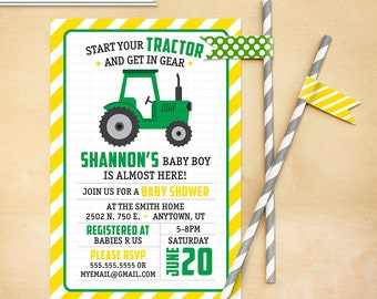 Tractor Baby Shower Invitation Printable Green Yellow
