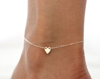 Tiny Heart Anklet // Personalized Sterling Silver or 14k Gold Filled Anklet