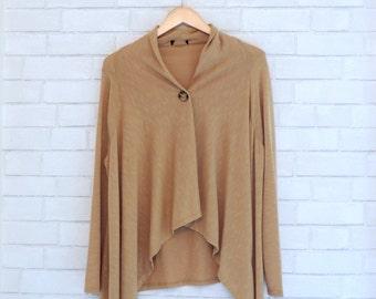 Lovely, Light-Flowing, Single-Button, Open Sweater