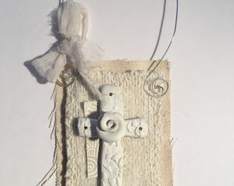 Small mixed media art with polymer clay cross