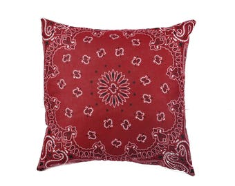 Red Bandana Pillow Cover - Home Decor