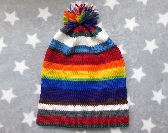 Knit Pride Hat - Chaos Hat With Rainbow - Wool Mohair Beanie