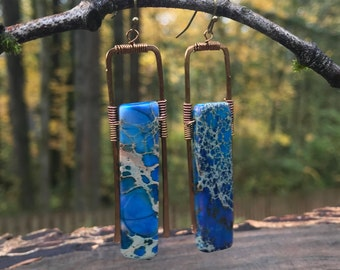 Earrings - Copper & Dk Blue Agate