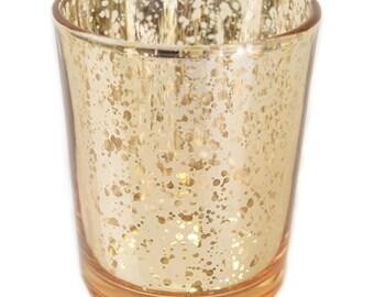 12 Gold Glass Votives| MERCURY Glass| Votive| Candle| Beeswax| Votive Candle| Votive Candles| Votive Candle Holder| Candle Holder| Candles