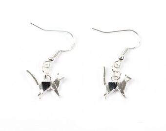 Origami Cat Earrings   Cat Earrings   Sterling Silver Cat Earrings   Origami Earrings   Cat jewellery