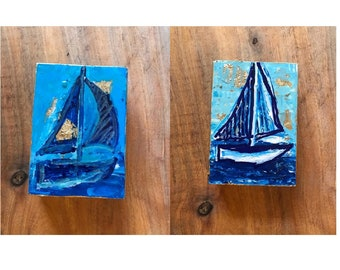 Sailboat Art on Wood Block