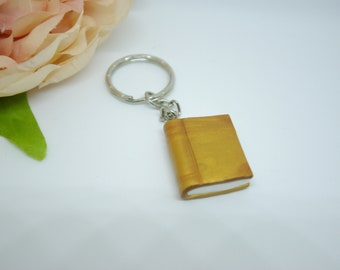 Book keychain, Polymer clay book, Book charm, Book lover gift, Keyring