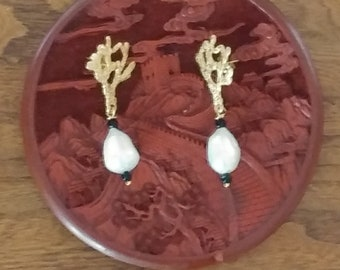 Pendant earrings with Coral branch and pearl drop attachment