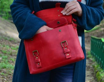 Red leather bag, red bag, red crossbody bag, red purse, red shoulder bag, red leather purse, leather bag red, sturdy leather bag red leather