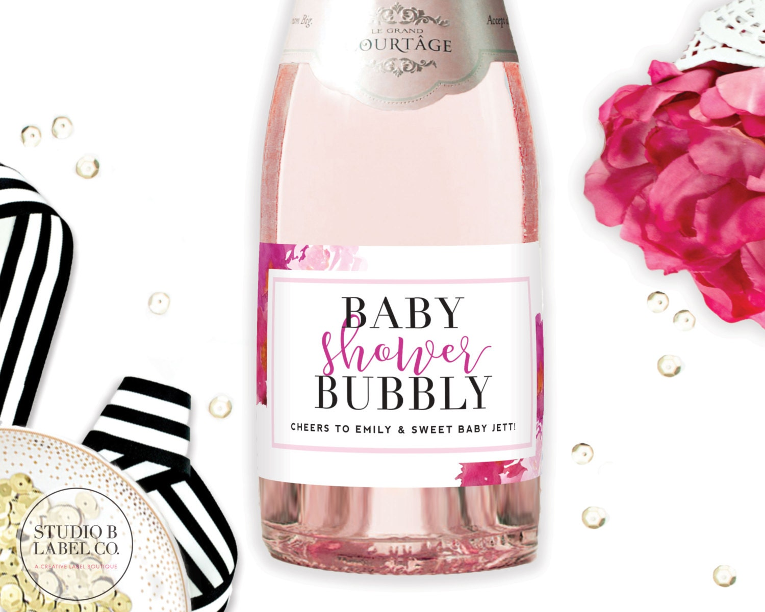 Baby Shower Bubbly Mini Champagne Labels Baby Shower - Mini champagne bottle labels template