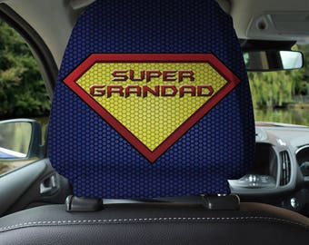 Super Grandad Design Car Seat Headrest Cover 2 Pack Made In Yorkshire Gift For
