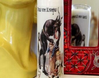 Vintage Postcard Krampus Altar Candle