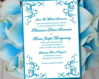 "Printable Wedding Invitation Template - Malibu Blue ""Diana"" DIY Wedding Template Printable Invitation Instant Download Flourish Invitation"