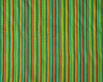 "Vintage Green Striped Quilting Cotton Fabric from 1970s, Unused, 44"" X 44"""