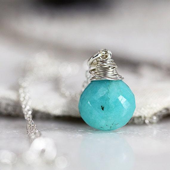 Silver Amazonite Pendant - Dainty Gemstone Necklace