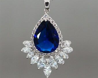 Blue Rhinestone Necklace Mother of Brides Necklace Crystals Wedding Necklace Sapphire Color Necklace Something Blue Bridal necklace