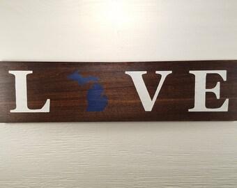 """Pick State, Pick colors, Custom, Wooden Love Sign, Michigan, U of M, Michigan State, 20""""x5"""""""