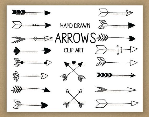 black hand drawn arrows clipart a set of 18 rh etsy com arrow clip art png arrow clipart png