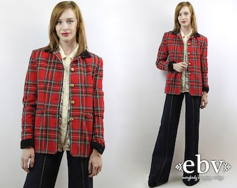 Red Plaid Blazer Plaid Jacket Wool Blazer Fitted Blazer Military Blazer Oversized Blazer Vintage 90s Red Plaid Military Blazer S M